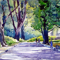 morning light, 21 x 15 inch, raji p,landscape paintings,paintings for living room,canson paper,watercolor,21x15inch,GAL05907342