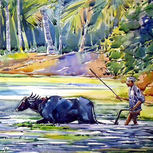 life, 21 x 15 inch, raji p,landscape paintings,paintings for living room,canson paper,watercolor,21x15inch,GAL05907346