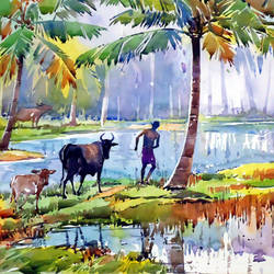 sea village, 21 x 15 inch, raji p,paintings for living room,nature paintings,landscape paintings,impressionist paintings,animal paintings,contemporary paintings,canson paper,watercolor,21x15inch,GAL05907347Nature,environment,Beauty,scenery,greenery,cow,man,coconut tree,water