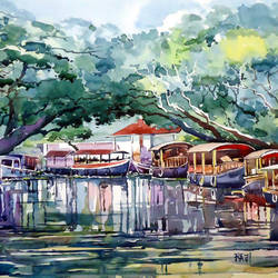 waiting, 21 x 15 inch, raji p,landscape paintings,paintings for living room,canson paper,watercolor,21x15inch,GAL05907348