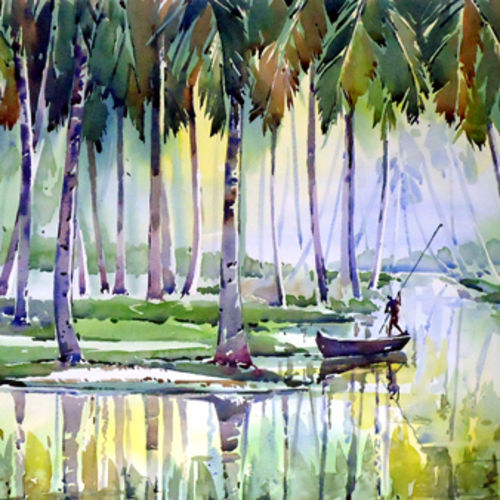 life with water, 21 x 15 inch, raji p,paintings for living room,nature paintings,canson paper,watercolor,21x15inch,GAL05907349Nature,environment,Beauty,scenery,greenery,water,trees,boy