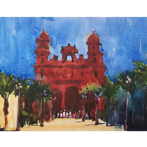 mosque1, 12 x 8 inch, sezhiyan rs,landscape paintings,paintings for living room,thick paper,watercolor,12x8inch,GAL029467352