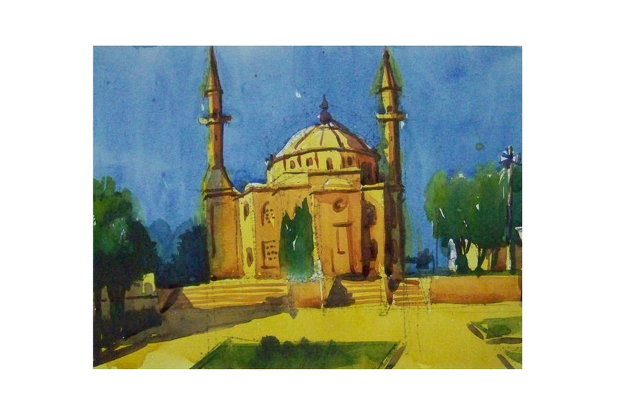 mosque2, 12 x 8 inch, sezhiyan rs,landscape paintings,paintings for living room,thick paper,watercolor,12x8inch,GAL029467359