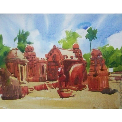 mamallapuram_pancha rathas, 13 x 10 inch, sezhiyan rs,landscape paintings,paintings for living room,thick paper,watercolor,13x10inch,GAL029467360