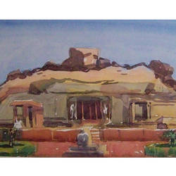 cave_temple1, 12 x 8 inch, sezhiyan rs,landscape paintings,paintings for living room,thick paper,watercolor,12x8inch,GAL029467361