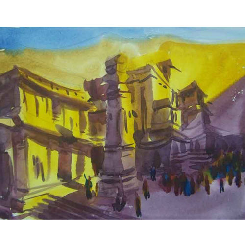 ellora_temple, 10 x 8 inch, sezhiyan rs,landscape paintings,paintings for living room,thick paper,watercolor,10x8inch,GAL029467362
