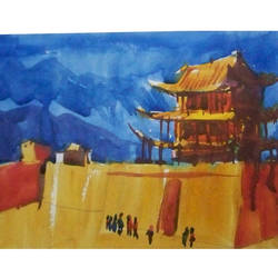 budda_temple_outer_view, 10 x 8 inch, sezhiyan rs,landscape paintings,paintings for living room,thick paper,watercolor,10x8inch,GAL029467365