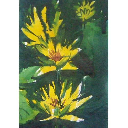 yellow_lilly, 5 x 9 inch, sezhiyan rs,landscape paintings,paintings for living room,thick paper,watercolor,5x9inch,GAL029467369