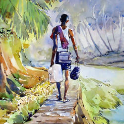 toddy maker . , 14 x 15 inch, raji p,landscape paintings,paintings for dining room,canson paper,watercolor,14x15inch,GAL05907371