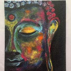 gautam budda, 6 x 8 inch, nischitha sn,buddha paintings,paintings for living room,paintings,canvas board,acrylic color,6x8inch,GAL029537375