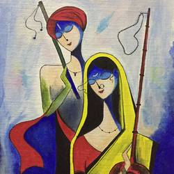 krishna, 12 x 16 inch, nischitha sn,paintings for bedroom,modern art paintings,radha krishna paintings,canvas board,acrylic color,12x16inch,GAL029537377