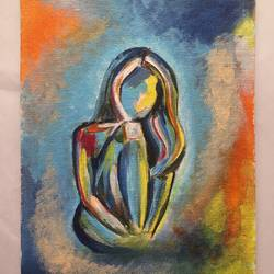 girl alone , 6 x 8 inch, nischitha sn,paintings for living room,paintings,modern art paintings,canvas board,acrylic color,6x8inch,GAL029537378
