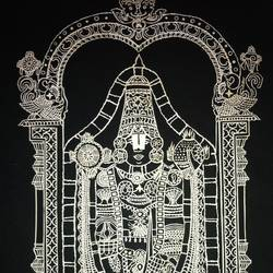tirupati balaji paper cutwork on single sheet, 20 x 24 inch, meena  raghavan,fine art drawings,thick paper,mixed media,20x24inch,GAL0382738