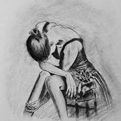 sad girl sketch , 10 x 12 inch, nischitha sn,paintings for living room,drawings,expressionist drawings,thick paper,charcoal,10x12inch,GAL029537382