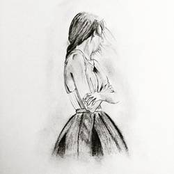 girl alone 2, 10 x 12 inch, nischitha sn,expressionist drawings,paintings for living room,drawings,thick paper,charcoal,10x12inch,GAL029537385