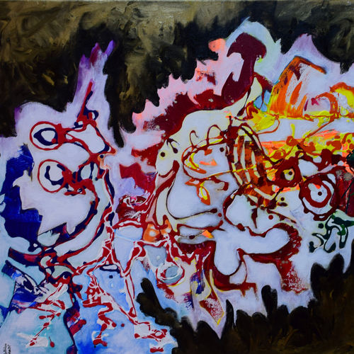 hindi hain hum, 36 x 24 inch, aatmica ojha,abstract paintings,paintings for living room,canvas,acrylic color,36x24inch,GAL026897386