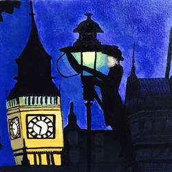 last of gas lamps of london, 12 x 10 inch, guneet kaur,cityscape paintings,paintings for living room,canvas board,acrylic color,12x10inch,GAL029437394