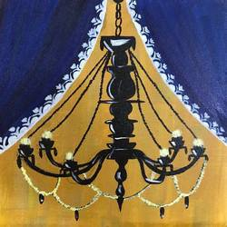 my little chandelier, 8 x 8 inch, guneet kaur,figurative paintings,paintings for dining room,canvas board,acrylic color,8x8inch,GAL029437396