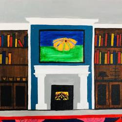 fireplaces, 16 x 12 inch, guneet kaur,figurative paintings,paintings for living room,canvas board,acrylic color,16x12inch,GAL029437397