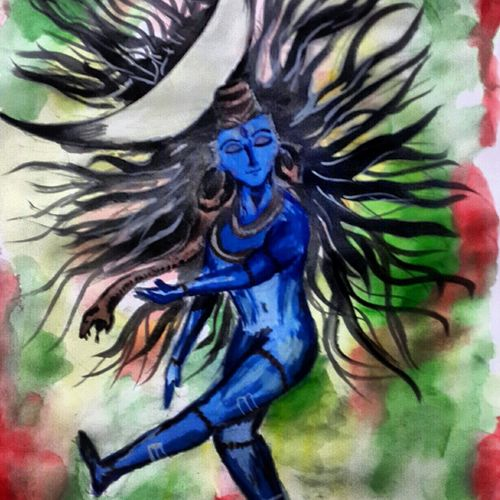 tandava, 8 x 13 inch, sanket patel,conceptual paintings,paintings for living room,thick paper,poster color,8x13inch,GAL029627399