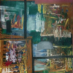 abstract  with shaded cube, 19 x 19 inch, naheem rustum,abstract paintings,paintings for living room,canvas,acrylic color,19x19inch,GAL03447407