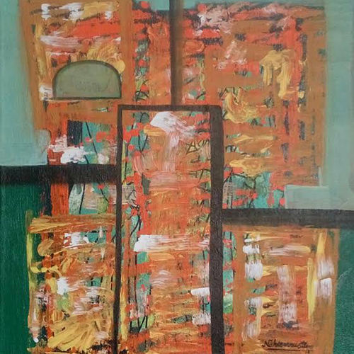 orange mix shade , 15 x 17 inch, naheem rustum,abstract paintings,paintings for dining room,canvas,acrylic color,15x17inch,GAL03447409