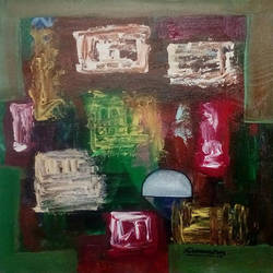 abstract  with colour cube, 16 x 16 inch, naheem rustum,abstract paintings,paintings for dining room,canvas,acrylic color,16x16inch,GAL03447410