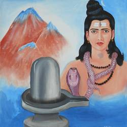 ras linga- lord shiva, 33 x 36 inch, gyanaditya mourya,religious paintings,paintings for living room,lord shiva paintings,cloth,acrylic color,33x36inch,GAL0687426