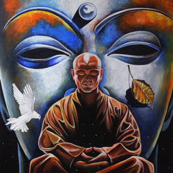 meditator and observer, 36 x 48 inch, chaitanya kumar,buddha paintings,paintings for living room,canvas,acrylic color,36x48inch,religious,peace,meditation,meditating,gautam,goutam,buddha,monk,birds,leaf,blue,GAL026287429
