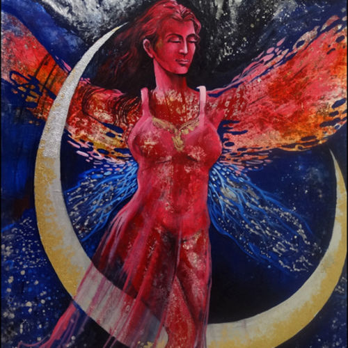 descended from the crescent , 42 x 62 inch, ankita  goenka ,figurative paintings,paintings for office,canvas,mixed media,42x62inch,GAL029767434