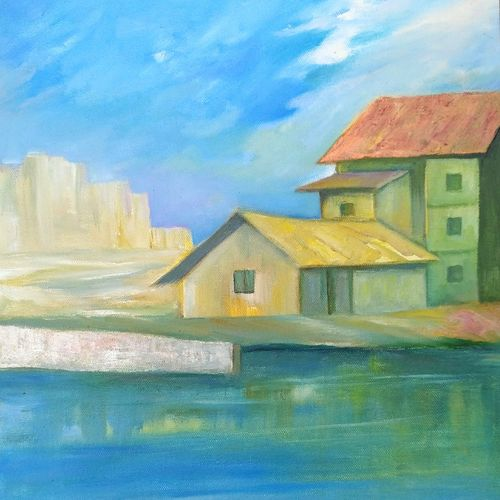 urbanization, 14 x 15 inch, a.b.  kaser,landscape paintings,paintings for office,canvas,mixed media,14x15inch,GAL06367443