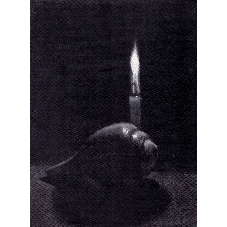 candle and conch shell - i ( depicting a candle in the darkness), 12 x 9 inch, aniruddh basu,still life paintings,paintings for living room,paper,charcoal,12x9inch,GAL029947444