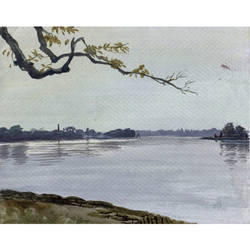 river - ii (enjoy the most calming scenery  to contemplate and de-stress), 11 x 10 inch, aniruddh basu,landscape paintings,paintings for living room,thick paper,watercolor,11x10inch,GAL029947445