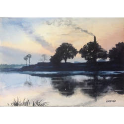 river (this  depicts the reflection of sunset on the river), 8 x 6 inch, aniruddh basu,landscape paintings,paintings for living room,cartridge paper,watercolor,8x6inch,GAL029947446