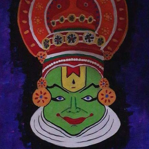 kathakali mask, 16 x 20 inch, priyanka sharma,paintings,religious paintings,paintings for dining room,canvas,acrylic color,16x20inch,GAL029967451