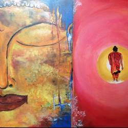 life of buddha, 32 x 25 inch, balaji  s n,buddha paintings,paintings for living room,canvas,acrylic color,32x25inch,religious,peace,meditation,meditating,gautam,goutam,buddha,face,smiling,monk,GAL028517453