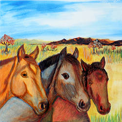 horses on the farmland, 11 x 16 inch, ram kumar,animal paintings,paintings for living room,horse paintings,brustro watercolor paper,watercolor,11x16inch,GAL027567466