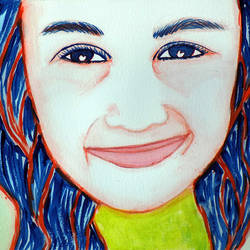 smiley girl, 12 x 8 inch, ram kumar,contemporary paintings,paintings for living room,brustro watercolor paper,watercolor,12x8inch,GAL027567470