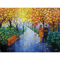 couple walking in the garden, 24 x 18 inch, vikas pareek,landscape paintings,paintings for living room,canvas,acrylic color,24x18inch,GAL026657473