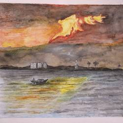 golden sky, 13 x 10 inch, tapan dasgupta,landscape paintings,paintings for living room,thick paper,watercolor,13x10inch,GAL0340748