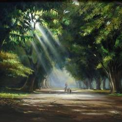 ray of sun - i, 36 x 24 inch, krishnapada paul,landscape paintings,paintings for living room,canvas,acrylic color,36x24inch,GAL026457483