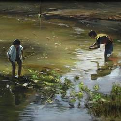 two boys, 30 x 20 inch, krishnapada paul,nature paintings,paintings for living room,canvas,acrylic color,30x20inch,GAL026457485Nature,environment,Beauty,scenery,greenery,two boys,grass,water