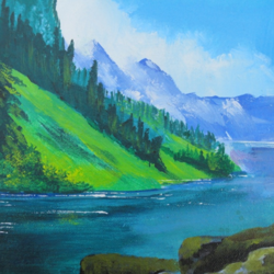 river in the mountains, 8 x 10 inch, pankaj kumar,landscape paintings,paintings for living room,canvas board,acrylic color,8x10inch,GAL030247486