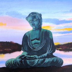 the serene buddha, 16 x 12 inch, pankaj kumar,buddha paintings,paintings for bedroom,canvas board,acrylic color,16x12inch,religious,peace,meditation,meditating,gautam,goutam,buddha,scenery,blue,river,idol,poeaceful,GAL030247487