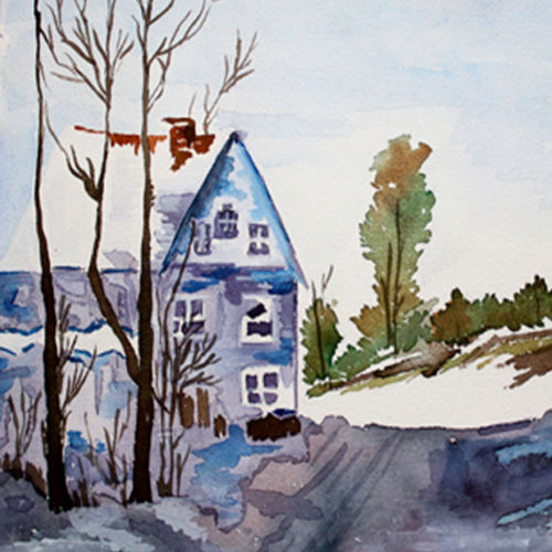beautiful house , 16 x 12 inch, noor khan,paintings for living room,cityscape paintings,renaissance watercolor paper,watercolor,16x12inch,GAL027807491