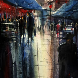rainy day in delhi, 21 x 15 inch, sankar thakur,landscape paintings,paintings for living room,fabriano sheet,watercolor,21x15inch,GAL0775