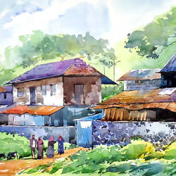 village houses, 21 x 15 inch, raji p,landscape paintings,paintings for living room,horizontal,canson paper,watercolor,21x15inch,GAL05907504