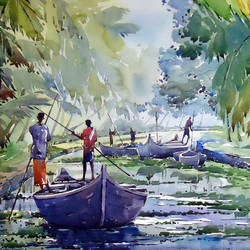 life of kerala, 21 x 15 inch, raji p,landscape paintings,paintings for living room,canson paper,watercolor,21x15inch,GAL05907505