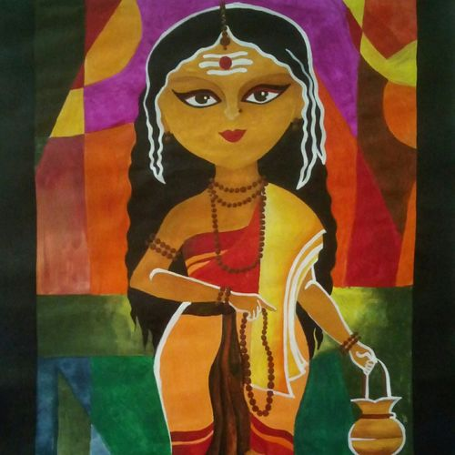 goddess bramhacharini, 12 x 17 inch, banoshree bose,modern art paintings,paintings for living room,paper,acrylic color,12x17inch,GAL030467507