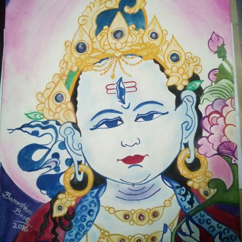 lord shiva , 12 x 17 inch, banoshree bose,folk art paintings,paintings for office,lord shiva paintings,paper,mixed media,12x17inch,GAL030467508